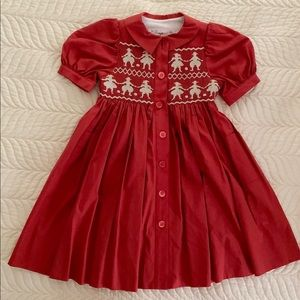 Bonpoint smocked embroidered red dress size 4
